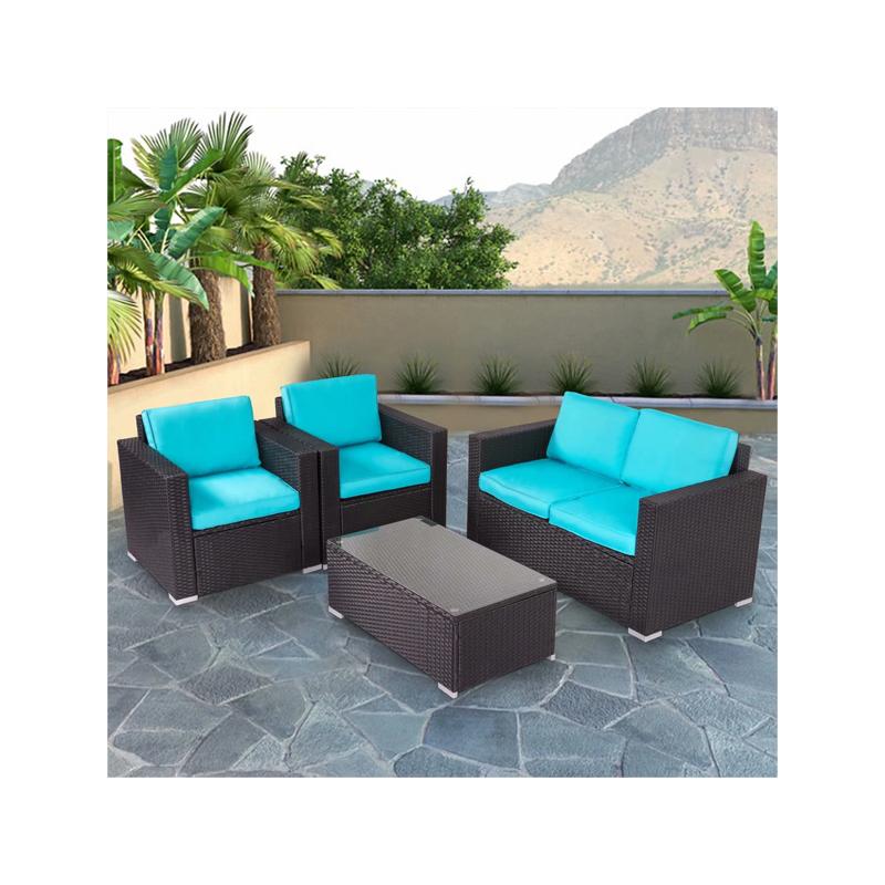 4 Pcs Outdoor Patio Rattan Sofa Set