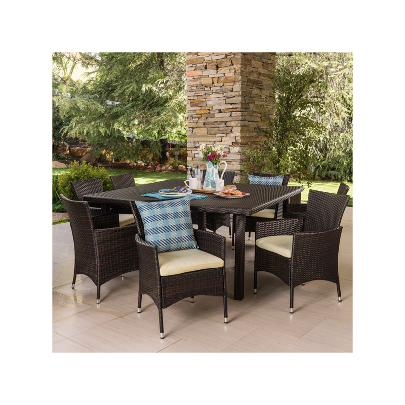 Outdoor 9-piece Square Wicker Dining Set with Cushions