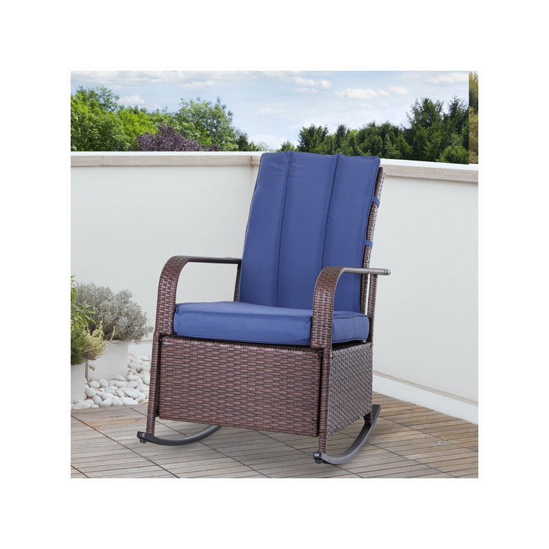 Outdoor Wicker Rattan Rocking Cushioned Chair with Footrest
