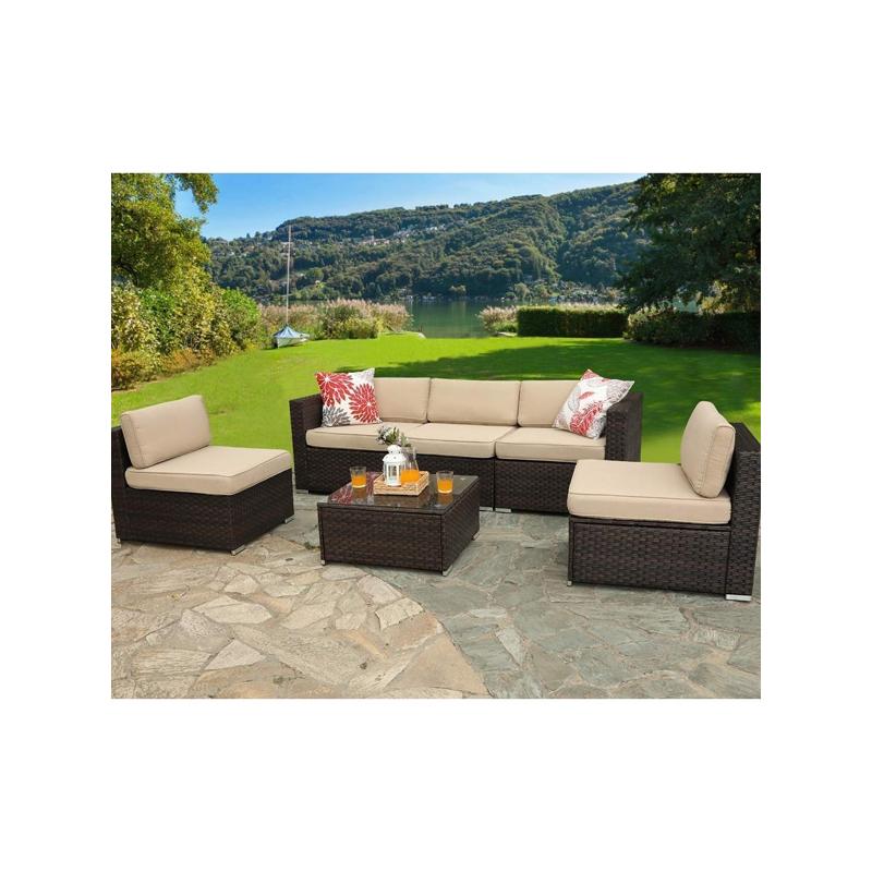 5 seater Outdoor Rattan Sectional & Conversational Sofa Set