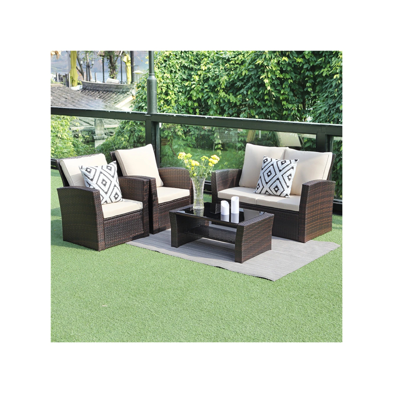 5 Piece Patio Rattan Furniture Set - Mix Brown with Beige Cushions