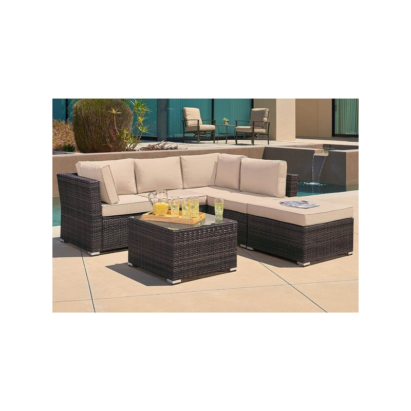 Outdoor 4-Piece Contemporary Patio Rattan Sectional Set