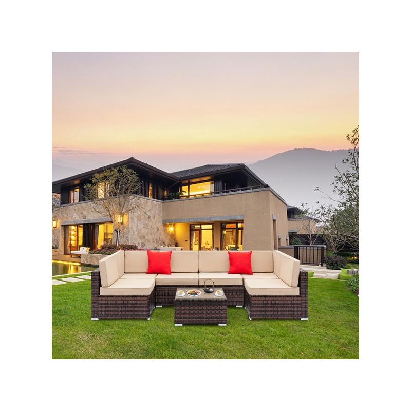 7-piece Outdoor Rattan Sectional Sofa Set