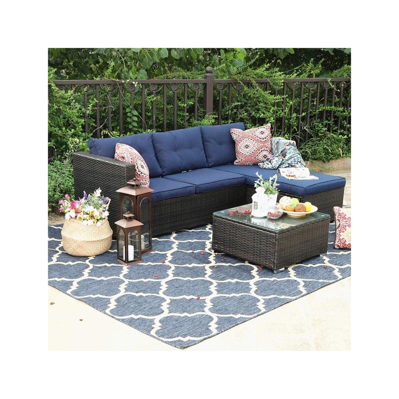 Rattan 3-Piece Patio Sectional Sofa Set