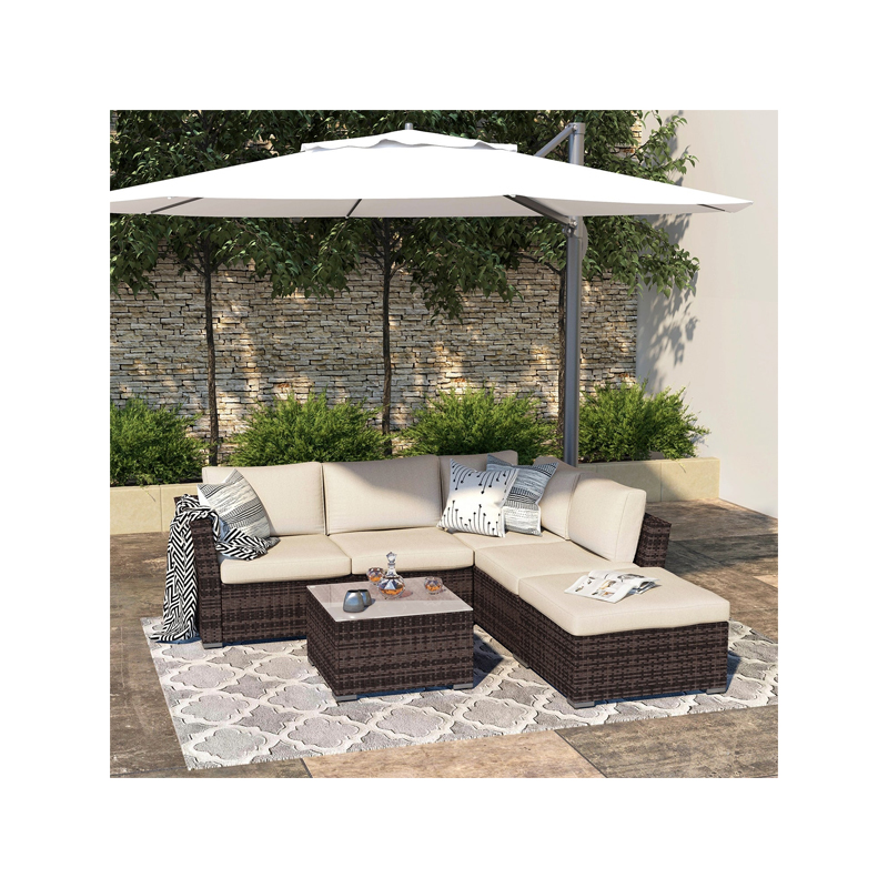 Outdoor 4-piece All-weather Wicker Patio Sectional Sofa Set